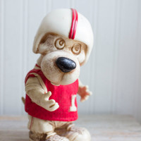 Vintage Football Bank,  1970s Football Dog Bank, 70s Money Bank, Coin Bank, Football Gift, Football Player,  Red
