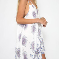 Women's Sexy Backless Print Double Strap Cami Beach Sundress