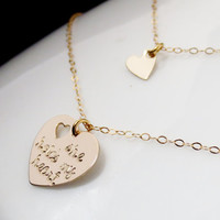 Personalized Mother Daughter Gold Heart Necklaces, Handstamped Best Friend Set, She Holds My Heart, Christmas Mom Grandma Gift Present