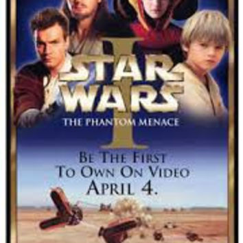 Star Wars I The Phantom Menace Movie Poster 27x40 Used Liam Neeson, Bronagh Gallagher, Natalie Portman, Warwick Davis, Khan Bonfils, Hassani Shapi, Kenny Baker, Scott Capurro, Oliver Ford Davies, Steve Speirs, Andrew Secombe