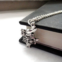 White rabbit necklace -  Alice in Wonderland jewelry - Tibetan silver charm gift