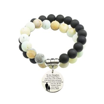 Genuine 10Mm Double Wrap Obsidian Amazonite Mix Bracelet - To Daughter From Dad