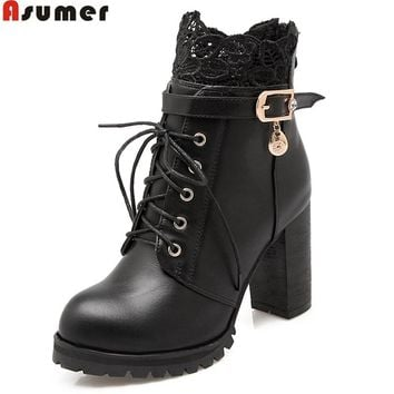 ASUMER 2017 hot sale new arrive women boots fashion zipper ladies boots lace up autumn winter ankle boots simple big size 33-46