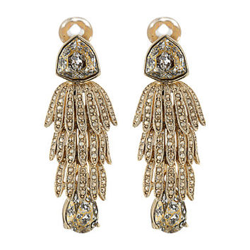 Oscar de la Renta Wisteria Triple Tier Crystal C Earrings