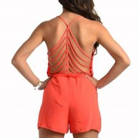 Coral Sleeveless Romper with Strappy Back Detail