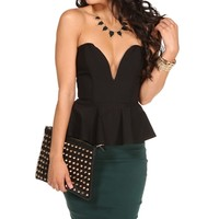 Sale-black Plunging Peplum
