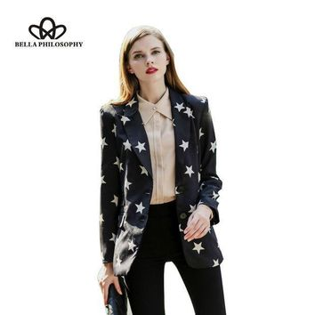 2015 Autumn Winter New Five Pointed Star Print Black Long Blazer Jacket Coat