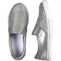 Sparkle Silver Slip-On Sneakers