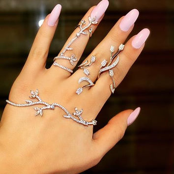 Elegant Wedding Jewelry Set - Hand Piece Bracelet Ring