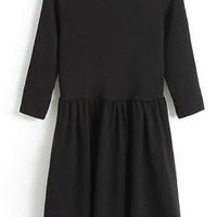 ROMWE | Scoop Neck Black Dress, The Latest Street Fashion