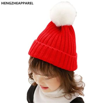 2017 new wool ball knit solid color children hats girls boys crochet beanies winter spring warm cap baby kids wear accessories