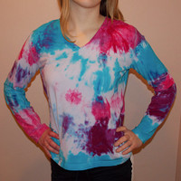 Nike Brand Women's Long Sleeve Shirt - Hand Dyed Workout Clothing - Hot Pink Turquoise Purple