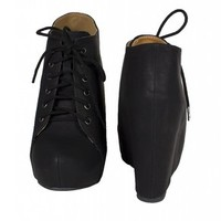 Jello! By Soda Lace Up Hidden Platform Wedge Ankle Bootie, black leatherette, 8 M