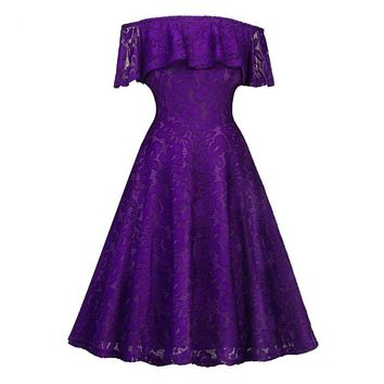 Boat Neck lace short Deep purple Bridesmaid dresses wedding party dress gown prom women clothing