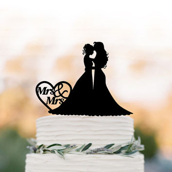 lesbian Wedding Cake topper Mrs and Mrs, same sex unique wedding cake topper funny, wedding cake topper silhouette