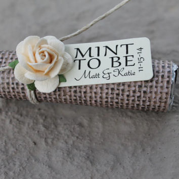 "Mint Wedding Favors with Personalized ""Mint to be"" tag - Set of 24 favors - choose any rose color, burlap wedding, mint green, custom favor"