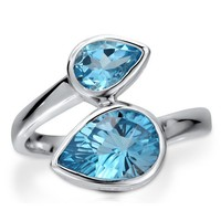 Sterling Silver 925 Pear Natural Blue Topaz Gemstone 2-Stone Wrap Ring #r457