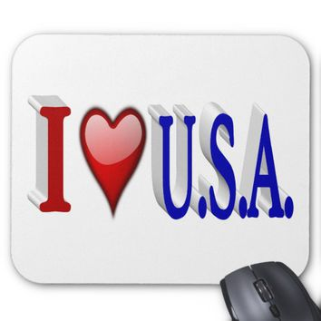 I Heart U.S.A. 3D Mouse Pads, Red & Blue Mouse Pad