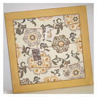 Golden Medallion Damask Fabric Distressed Framed Clothes Pin Board