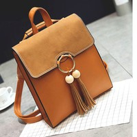 Fresh Pure Color PU Circular Ring Tassel Solid School Backpack