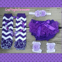 Purple First Birthday Cake Smash Set - Chevron - Lavender - Barefoot sandal - Headband - Newborn Girl - Photo Prop - Purple Birthday Outfit