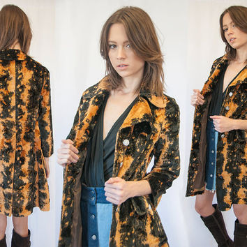 RARE 60s Gold and Black Tapestry Coat XS Small Velvet Velour Soft Vintage Mod Animal Print Cheetah Hippie Jacket Button Down Boho Parka 70s