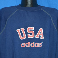 80s Adidas USA Blue Raglan Sleeve Sweatshirt Large