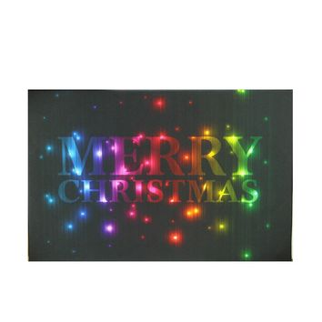 """LED Lighted Multi-Colored """"Merry Christmas"""" Canvas Wall Art 8"""" x 12"""""""