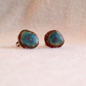 Ceramic Handmade Beautiful Turquiose Blue stud ceramic earrings on Silver plated surgical steel hypoallergenic