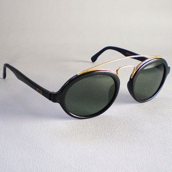 Vintage Ray Ban B&L USA GATSBY 6 Sunglasses oval round black gold aviator
