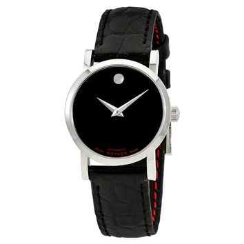 Movado Red Label Black Dial Two Tone Automatic Mens Watch 0607009