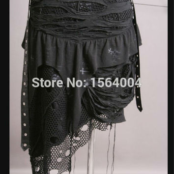 Punk Black Gothic Womens Skirt Rockabilly fashion tattered net Bottom Q098 S-XXL