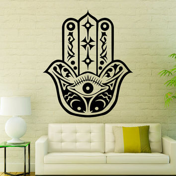 Fatima Hand Wall Decals Indian Pattern Hamsa Hand Eye Amulet Floral Mandala Interior Design Home Art Vinyl Decal Sticker Bedroom Decor MR385