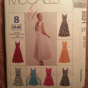 Uncut 1990's McCall's Sewing Pattern, 8621! 4-6-8 Small/Women's/Misses/Sleeveless Flared Dress/Scoop Neck/V Backline/Flared Dresses/Formal