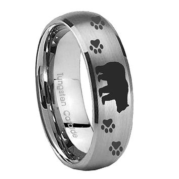 8MM Classic Satin Silver Dome Bear and Paw Tungsten Laser Engraved Ring
