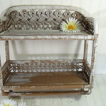 Vintage White & Brown Wood and Wicker Shelf - Retro 3 Level Wall Hanging Organizer Unit - Shabby Chic Chippy Paint Cottage Style Storage