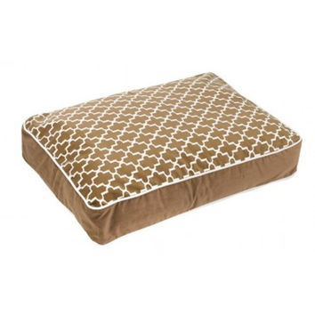 MicroVelvet Super Loft Rectangle Dog Bed — Cedar Lattice