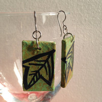 Handmade Hanji Paper Dangle Earrings Leaf Design Olive Green Brown Hypoallergenic hooks Lightweight Ear rings
