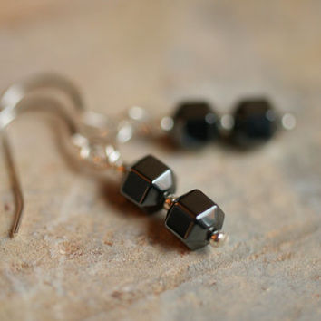 geometric jewelry / small black earrings / black jewelry / hemalyke earrings / shiny black sterling silver / shagbark road minimalist