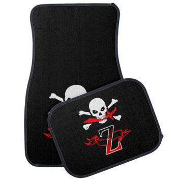 Jolly Roger Z Monogram Initial Set of Car Mats