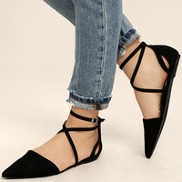 Rayna Black Suede Pointed Flats