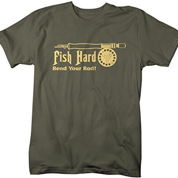 Shirts By Sarah Men's Funny Fishing T-Shirt Bend Your Rod Fish Hard