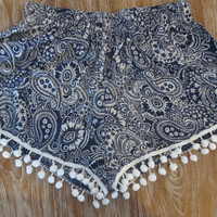 Navy & White Paisley Pom Pom Shorts - Trendy Navy and White Print with Large White Pom Pom's