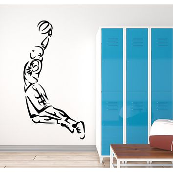 Vinyl Wall Decal Basketball Player Sports Game Ball Jump Stickers Mural (g308)