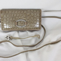 Nice Brighton Cher Taupe Croco Patent Leather Wallet Cross Body Strap.