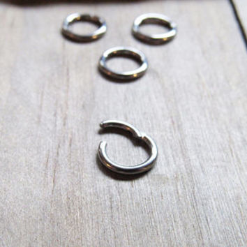 "Tiny septum ring 16g 1/4"" 6mm daith earring helix piercing hoop silver easy click nose ring smallest diameter 316L cartilage rings rook bar"