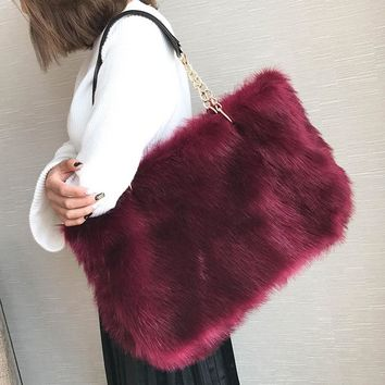 2017 Winter Plush Large Capacity Shouler Women Bag Fur Female Crossbody Bags for Girl Chain Messenger Ladies Warm Soft Handbag