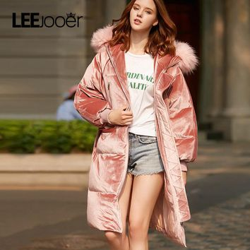 LEEJOOER New Winter Collection 2017 Winter Women Coat Jacket Warm Fashion Woman Parkas Jacket Winter Coat Hood Real Fox Fur Coat