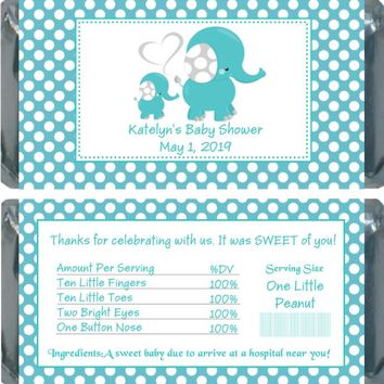 10 Blue Polka Dot Elephant Baby Shower Chocolate Bar Wrappers
