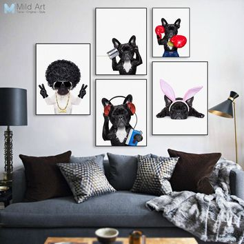 Cute Fashion Hippie Dog Pet Bulldog Cosplay Poster Nordic Living Room Wall Art Print Picture Home Decor Canvas Painting No Frame